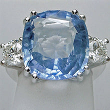 Load image into Gallery viewer, 13.20 Carats Ceylon Blue Sapphire Unheated Diamond Ring 18K White Gold