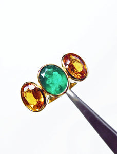 5.90 Carat Colombian Emerald Yellow Sapphire Cocktail Ring 18K