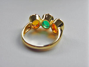 5.90ct Colombian Emerald Yellow Sapphire Cocktail Ring 18k Yellow Gold