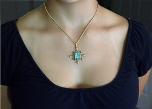 7.40 Carat Cluster Natural Colombian Emerald Pendant