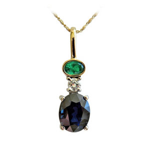 4.30ct Estate Blue Sapphire Emerald Diamond Pendant 18k Gold