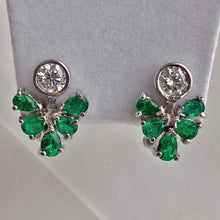 Load image into Gallery viewer, 2.50ct  Diamond Emerald Cocktail Cluster Earrings 18k White Gold