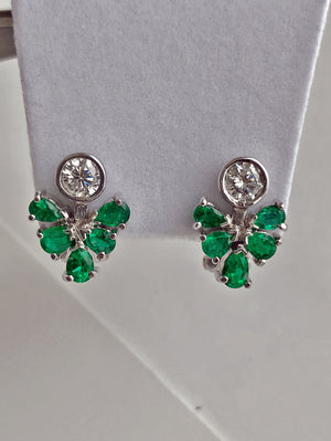 2.50ct  Diamond Emerald Cocktail Cluster Earrings 18k White Gold