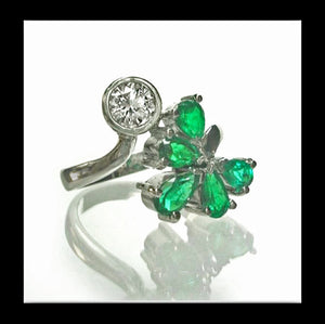 1.70ct Diamond Emerald Bypass Ring 18k White Gold