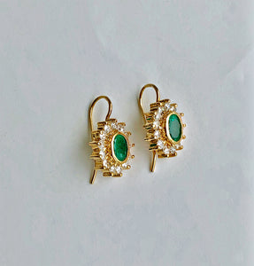 3.70 Carat Natural Colombian Emerald & Diamond Earrings 18k Gold