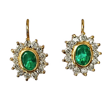 Load image into Gallery viewer, 3.70 Carat Natural Colombian Emerald & Diamond Earrings 18k Gold