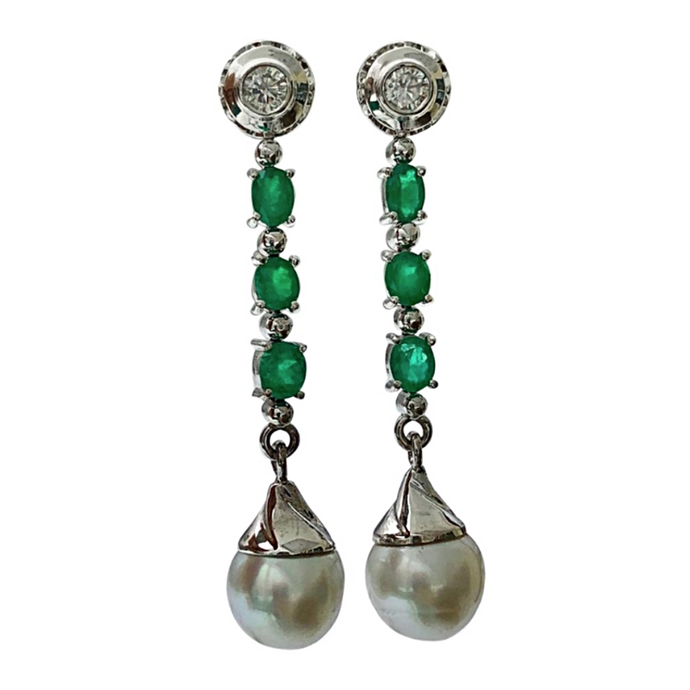 5.00ct Diamond Emeralds & South Sea Pearl Dangle Drop Earrings 18K White Gold