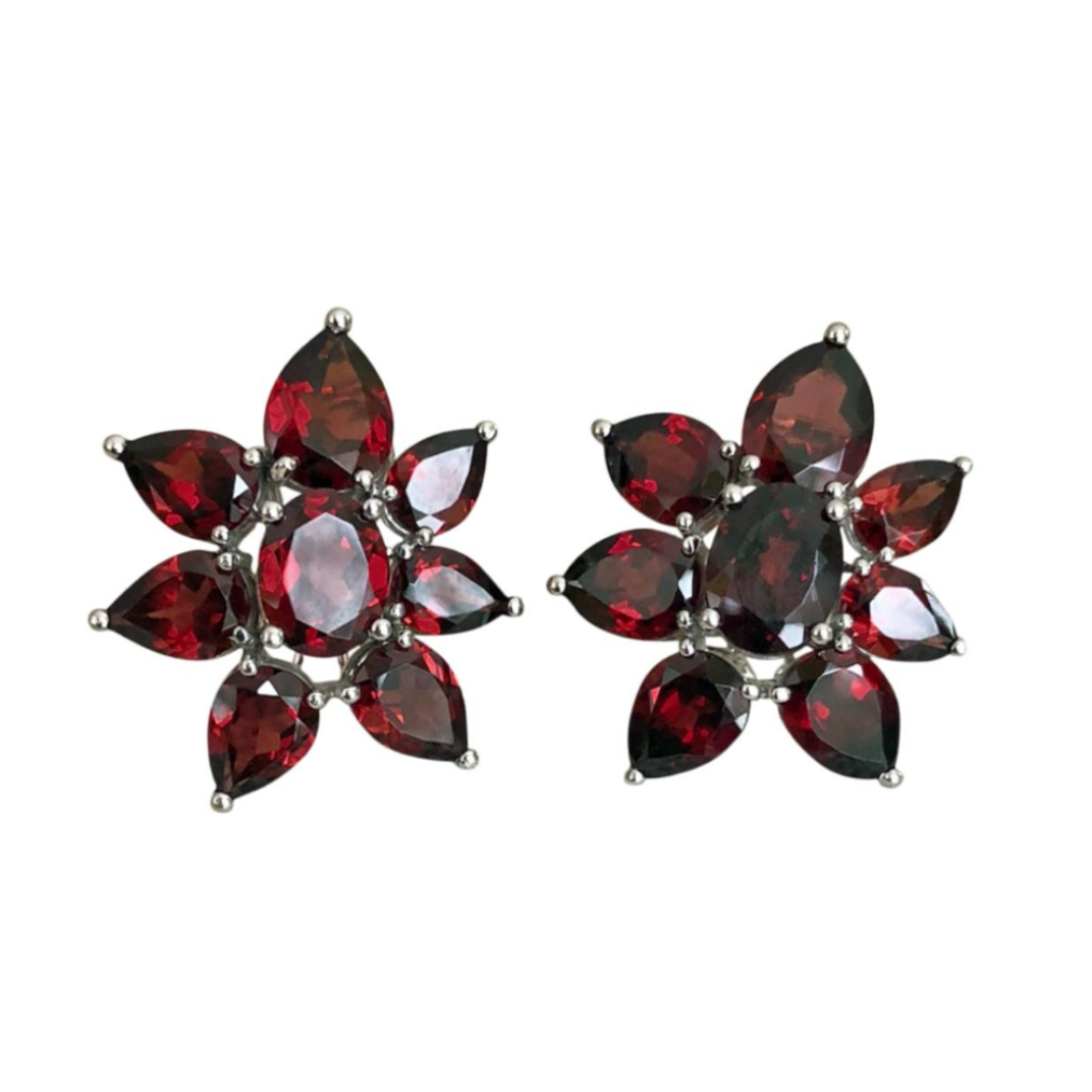 15.00 Carat Cluster Flower Garnet Earrings White Gold