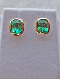 3.67ct Exclusive Cushion Columbian Emerald Stud Earrings 18k Yellow Gold