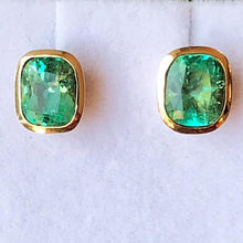 Load image into Gallery viewer, 3.67ct Exclusive Cushion Columbian Emerald Stud Earrings 18k Yellow Gold