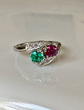 Load image into Gallery viewer, 1920s Antique Art Deco Emerald Ruby Diamond Platinum Ring