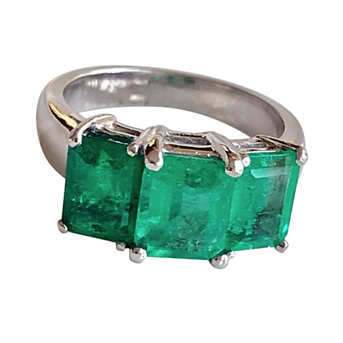 4.0 Carat Platinum Estate Three Stone Natural Colombian Emerald Ring