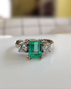 2.50 Carat Natural Colombian Emerald Diamond Engagement Ring 14K