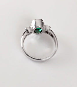 Estate 2.36 Carat Natural Emerald Diamond Ring 18 Karat