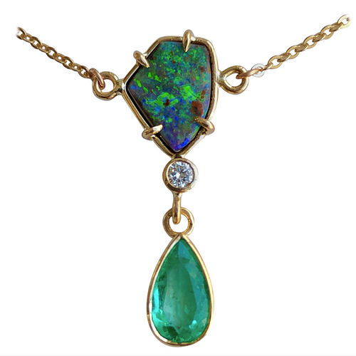 5.10 Carat Emerald Boulder Opal Diamond Pendant Necklace 18 Karat
