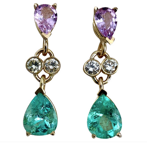 5.20 Carat Natural Emerald Sapphire Diamond Dangle Earrings 18 Karat
