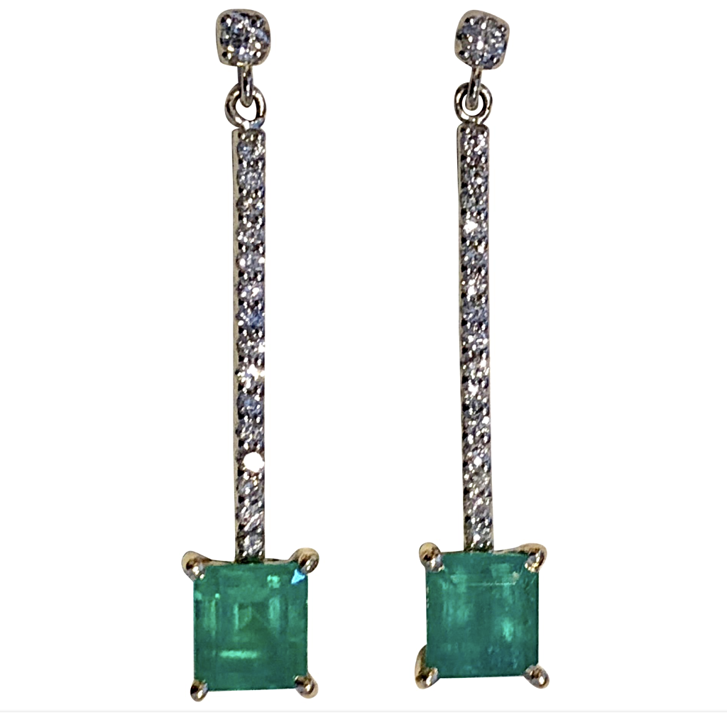 Dangle Colombian Emerald Diamond Earrings Platinum & 18K