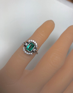 Estate Emerald Diamond Cocktail Ring 14K White Gold