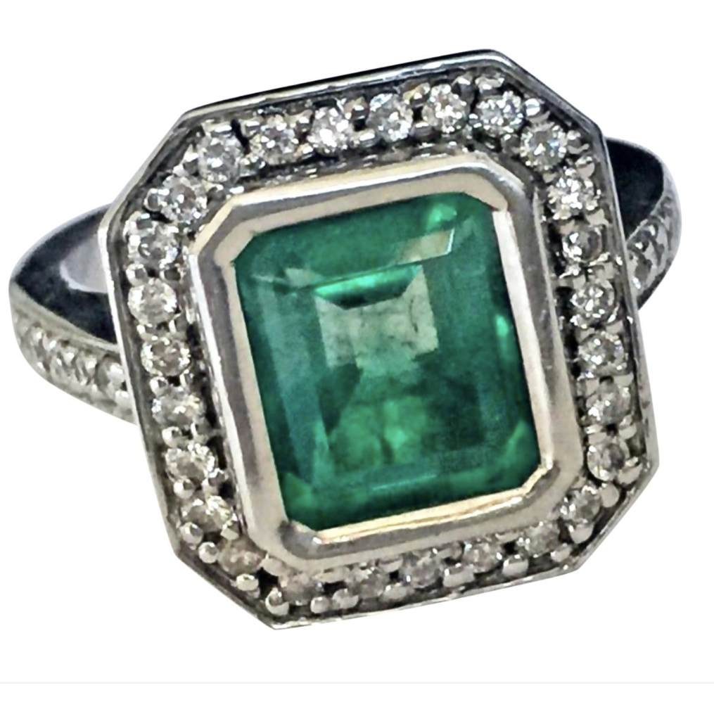 Colombian Emerald Diamond Ring Art Deco Style