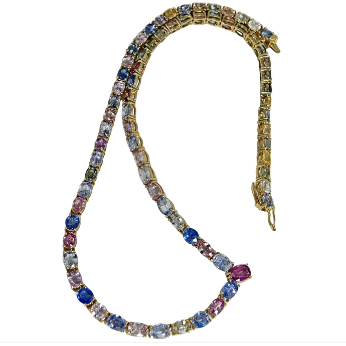 Fine 50.00 Carats Natural Multi-Colored Sapphire Necklace 18k