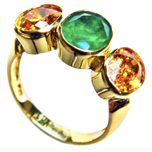 Load image into Gallery viewer, 5.90ct Colombian Emerald Yellow Sapphire Cocktail Ring 18k Yellow Gold