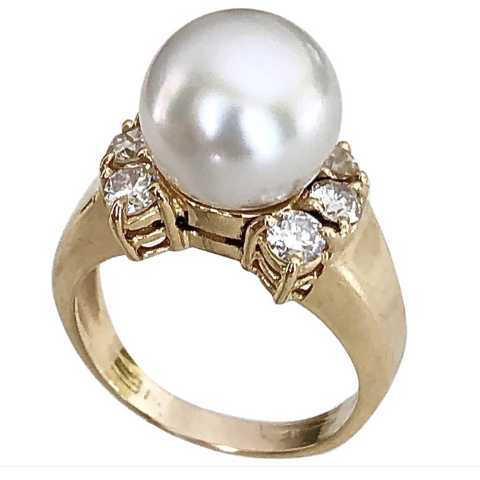 Cultured White Pearl Diamond Vintage Ring 50s /Size 3.75