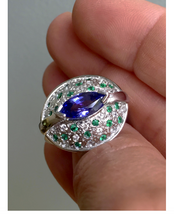 Load image into Gallery viewer, Tanzanite Emerald Diamond Contemporary Ring 18K White Gold