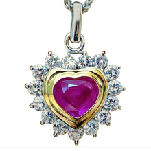 Load image into Gallery viewer, 3.50 Carat Untreated Burma Ruby Diamonds Heart Pendant 18K