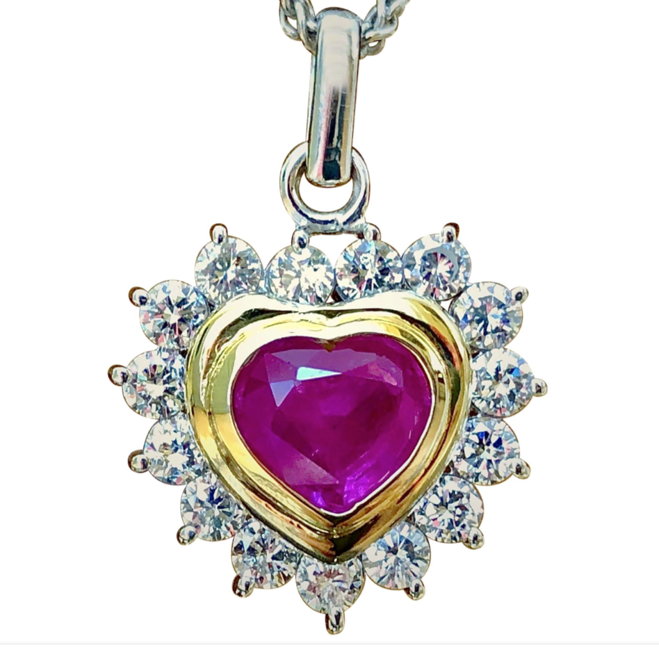 3.50 Carat Untreated Burma Ruby Diamonds Heart Pendant 18K