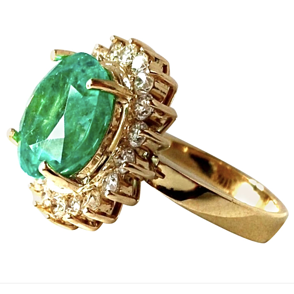 9.65ct Fine Natural Round Colombian Emerald Diamond Ring 18K