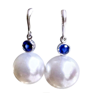 Natural 14mm South Sea Pearl Sapphire Drop Earrings 14K White Gold