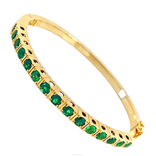 Load image into Gallery viewer, Colombian Emerald Bangle Bracelet 18 Karat