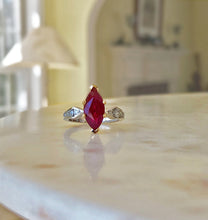 Load image into Gallery viewer, Marquise Natural Ruby Ring with Diamonds platinum & 18K