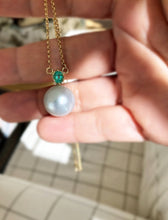 Load image into Gallery viewer, Estate Emerald 14mm South Sea Pearl Pendant Necklace 18k Gold
