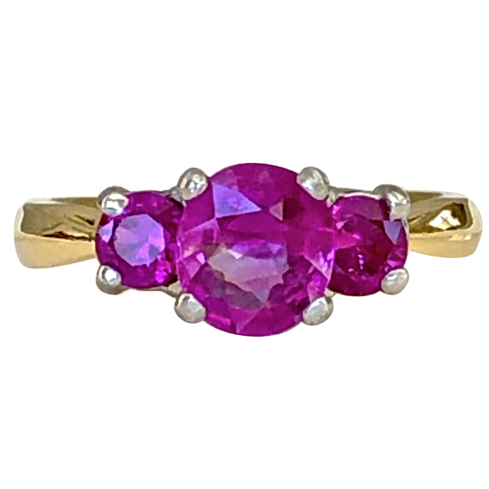 Natural Burma Ruby Three-Stone Ring 18 Karat Gold and Platinum