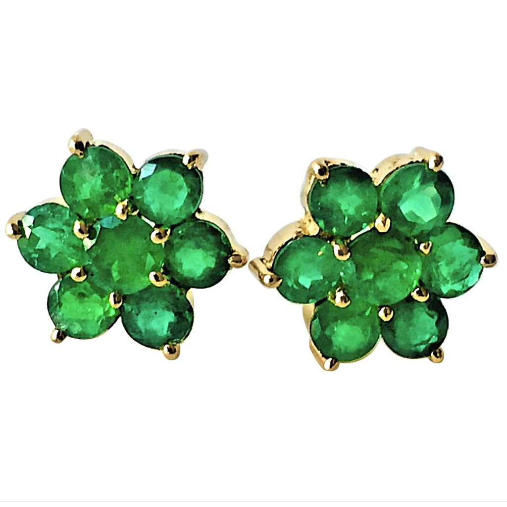 1.80 Carat Emerald Daisy Cluster Stud Earrings 18K Yellow Gold