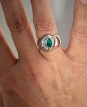 Load image into Gallery viewer, Natural Colombian Emerald & Diamond Ring 18k White Gold