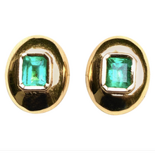 Load image into Gallery viewer, Dome Earrings Colombian Emerald 18k Gold