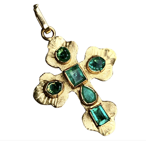 18k Yellow Gold Green Emerald Cross Charm Pendant