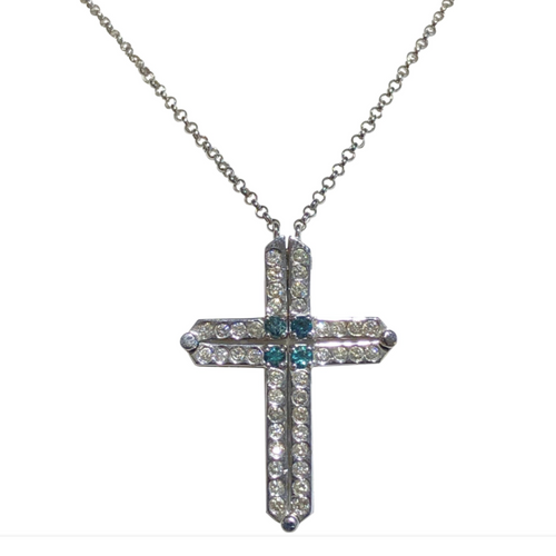 Diamond Cross Necklace 2Way 14K White Gold