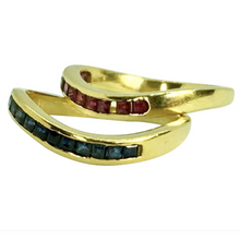 Load image into Gallery viewer, Ruby & Sapphire Eternity Band  Ring 18K