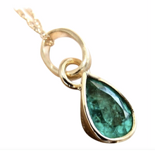 Load image into Gallery viewer, Colombian Emerald Charm Pendant 18K Yellow Gold