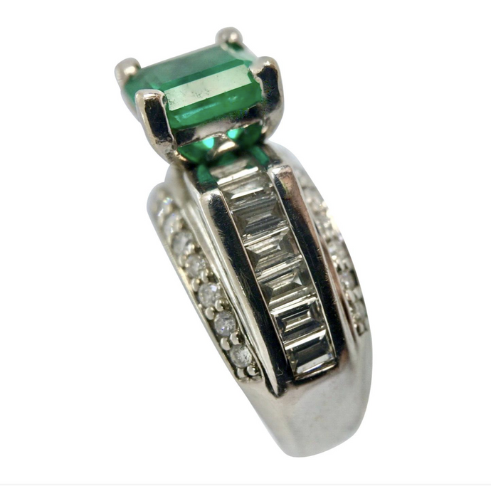 2.80 carat Square Colombian Emeralds & Diamond Ring White Gold