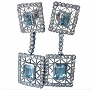 Antique style Aquamarine Diamonds Dangle Earrings 18K