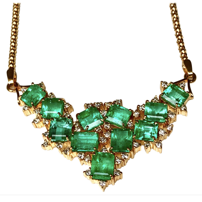 14.25ct Cluster AAA+ Colombian Natural Emerald Diamond Pendant Necklace 18k Gold