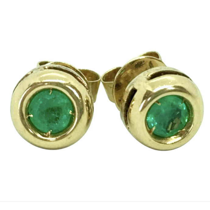 Emerald Stud Earrings Round Emerald 18K Yellow Gold