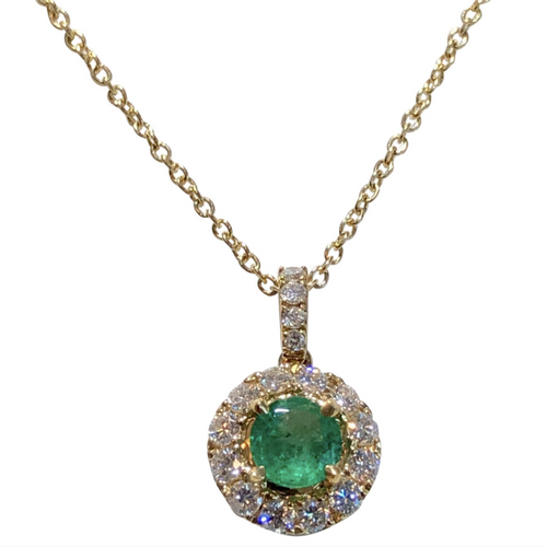 Emerald & Diamond Pendant Necklace Yellow Gold