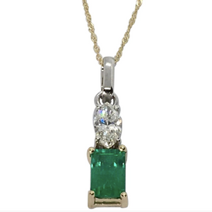 Fine Natural Colombian Emerald Diamond Solitaire Pendant Necklace 18K