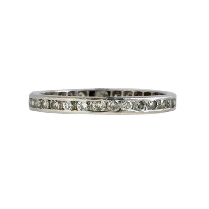 Platinum One Carat Diamond Vintage Eternity Band Wedding Anniversary