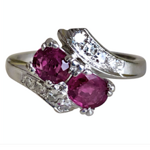 Load image into Gallery viewer, Art Deco Ruby Diamond Platinum Engagement Ring